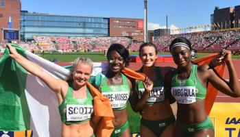 President Higgins congratulates Dundalk sprinters Jumbo-Gula and Akpe-Moses after World silver medal win
