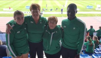Aoibhín McMahon of Blackrock AC and Dundealgan AC's Israel Olatunde shine for Ireland at Celtic Games
